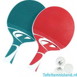 Cornilleau Tafeltennis batje Tacteo Duo Pack Rood/Groen