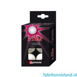 SPONETA Tafeltennis ballen, 3 ster 6-pack